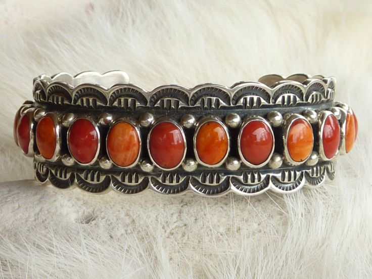 Sterling Silver, Spiny Oyster and Bamboo Coral Old Style Native American Cuff Bracelet by Navajo Artist Darrel Cadman Sterling  $420.00 (Sold)