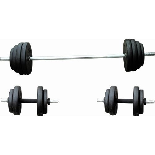 Sunny Health & Fitness No. 061 100lb Vinyl Barbell/Dumbbell Set