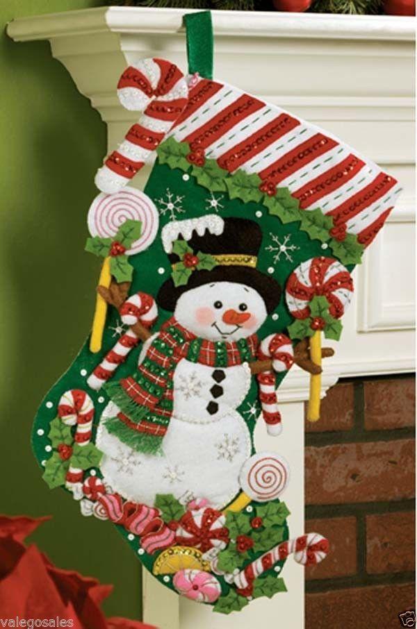 "Bucilla Felt Embroidery Applique Kit 18"" Stocking ~ CANDY SNOWMAN Sale #86299"