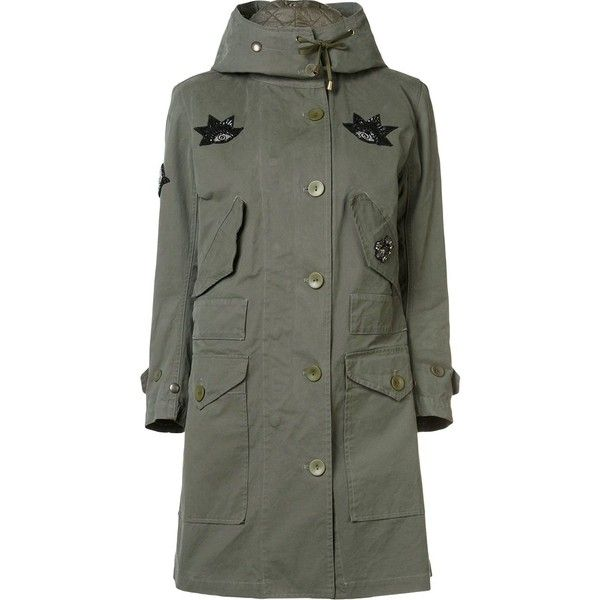 Figue military style field jacket (11.300 RON) ❤ liked on Polyvore featuring outerwear, jackets, green, army jacket, green military jacket, fashion military jacket, military inspired jacket and figue