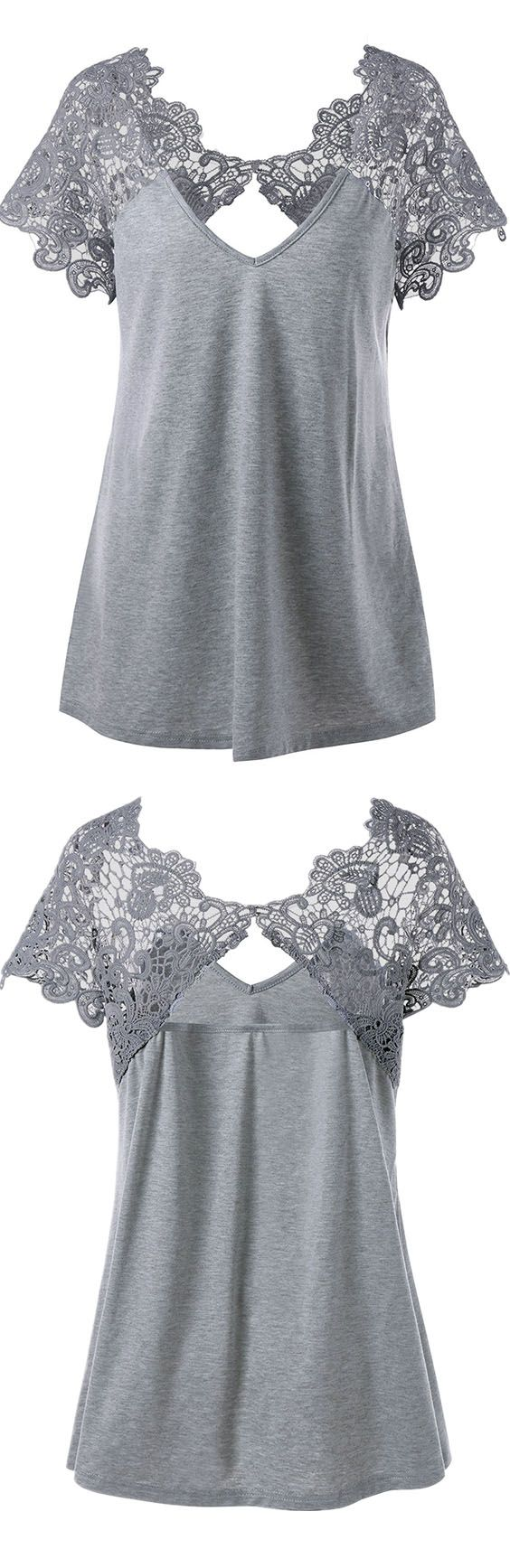$12.93 Plus Size Cutwork Lace Trim T-Shirt - Gray