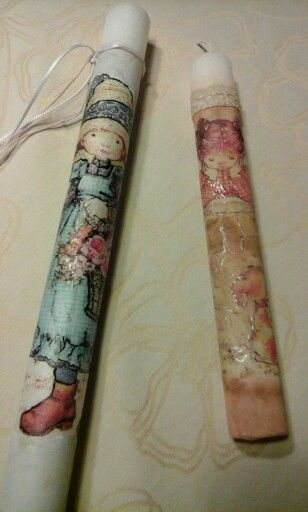 Easter candles with decoupage technic.