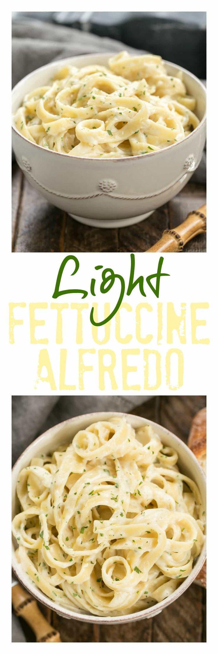 Light Fettuccine Alfredo   A creamy flavorful, lightened up Fettuccine Alfredo that tastes amazing!