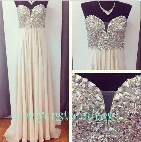 Long Champagne Prom Dress/Beaded Bridesmaid Dress/Peach Red Grey Purple Chiffon Evening Dress/Homecoming Dress/Graduation Dress/Formal Dress