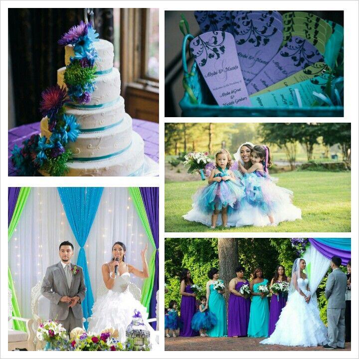 Turquoise purple garden wedding. Cake programs bridesmaids flowers