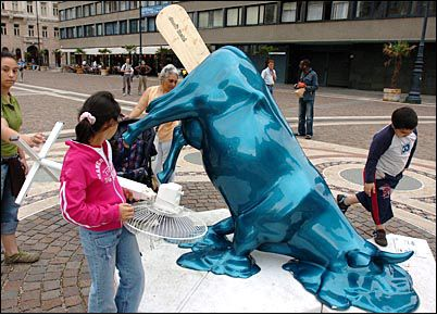 Cow Parade. Melted cow. Budapest