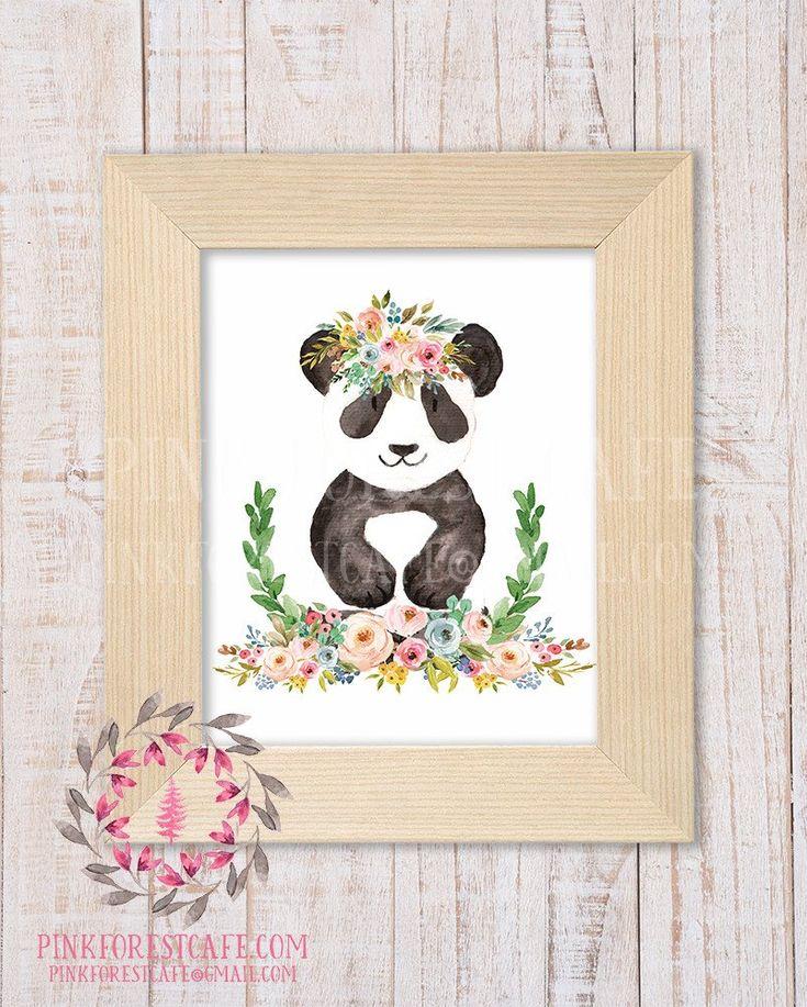 Panda Bear Zoo Animal Boho Bohemian Garden Floral Nursery Baby Girl Room Playroom Prints Printable Print Wall Art Home Decor
