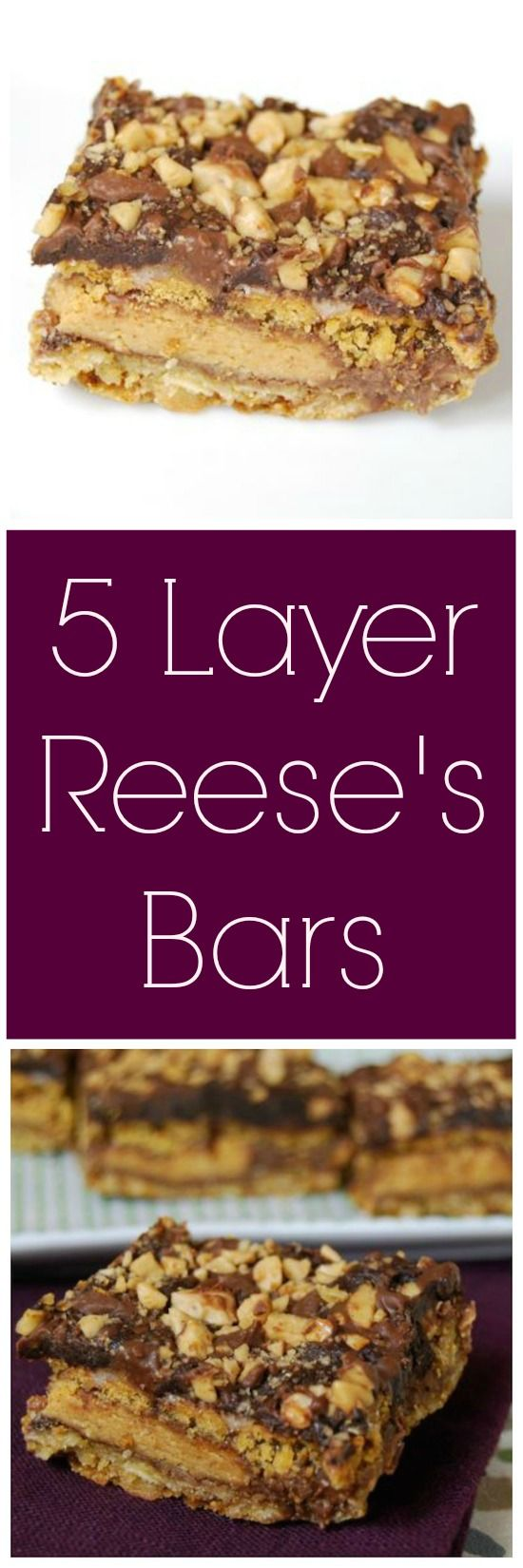 Five Layer Reese's Bars: Cookies bars stuffed with candy- what could be better?