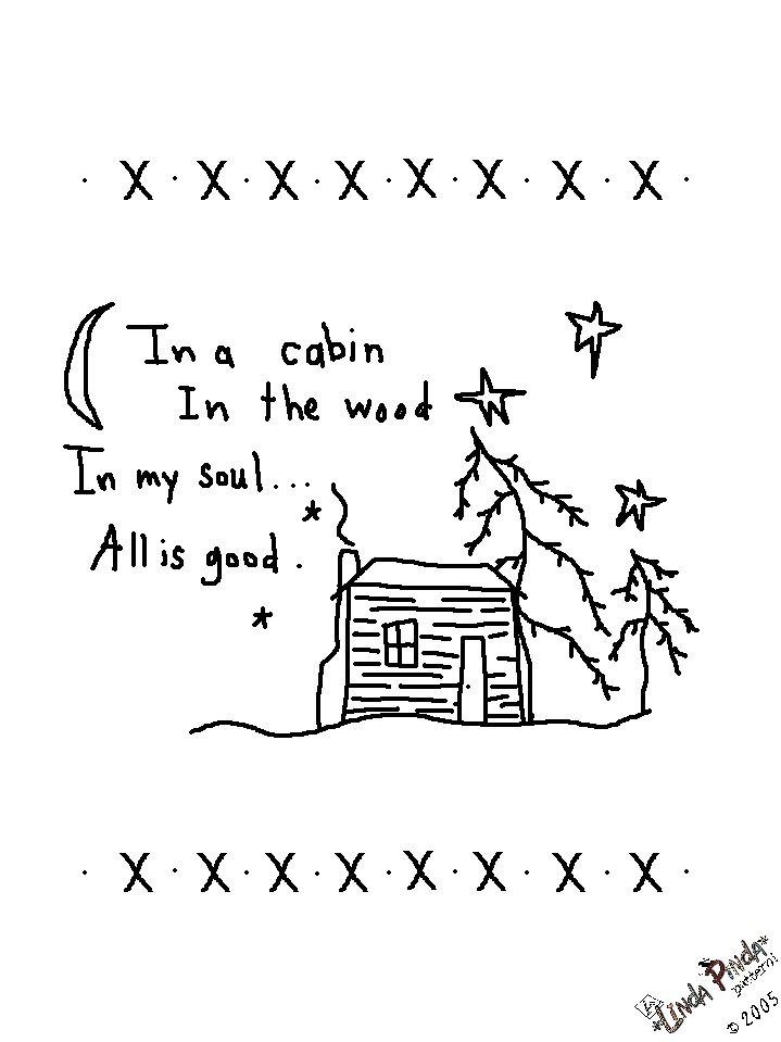 Free Primitive Embroidery Patterns | Free Primitive Stitching Patterns by Traude log cabin