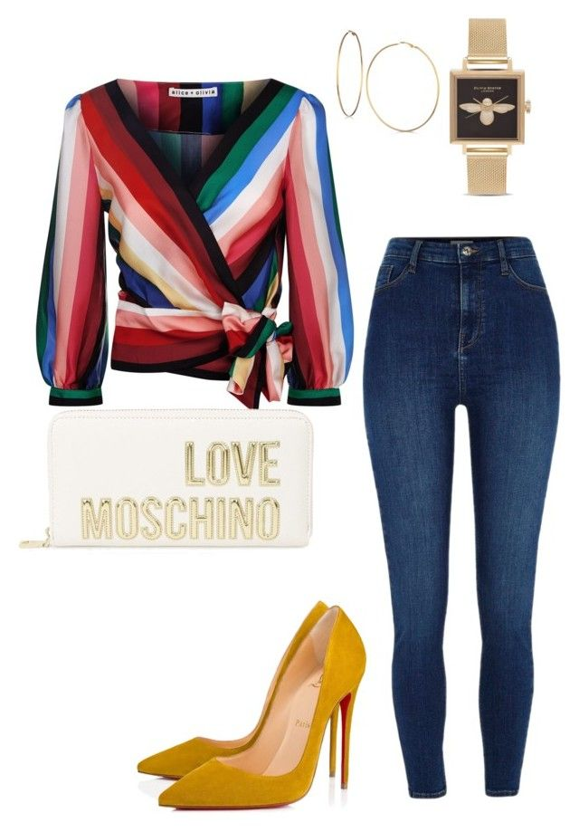 """it's a date"" by blyn78 on Polyvore featuring Alice + Olivia, Love Moschino, River Island, Christian Louboutin, GUESS and Olivia Burton"