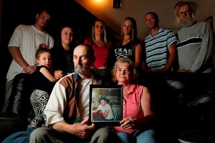(Front row) Faith Hill, granddaughter, David Rhineburger, father, and Nancy Rhineburger, step-mother, (back row) Matthew Rhineburger, nephew, Amanda Rhineburger, daughter, Christina Rhineburger, sister-in-law, Brittany Rhineburger, niece, Luke Rhineburger, brother, Terry Rhineburger, uncle, are the family members who helped comb the area where Mark Rhineburger disappeared in Liberty County on Thursday, March 29, 2012, in Crosby. Photo: Mayra Beltran, Houston Chronicle / © 2012 Houston…