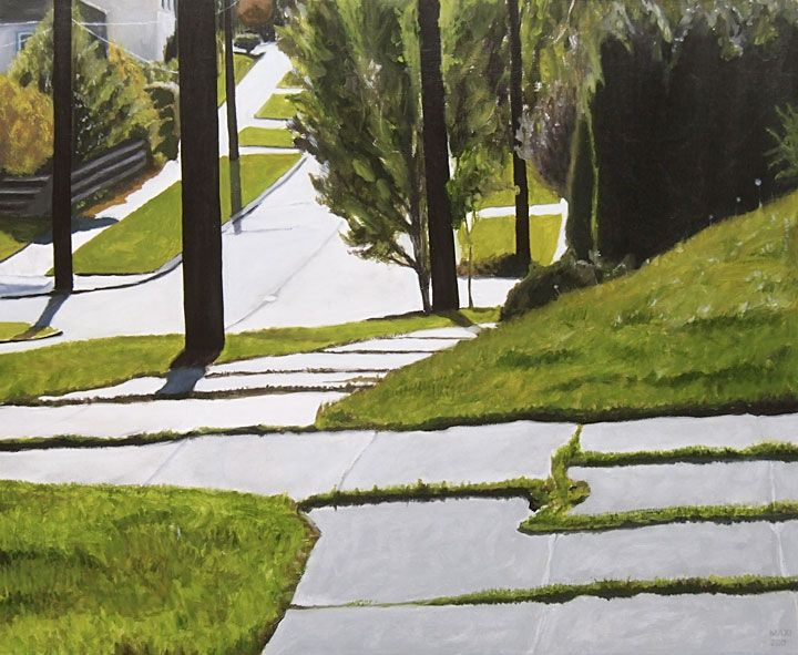 """Spring in Beacon Hill 23""""x 28"""", oil on board, 2007, Collection of Swedish Hospital--Rachel Maxi"""