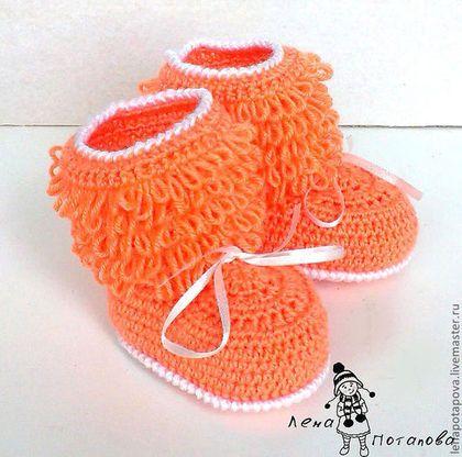 """Для новорожденных, ручной работы. Ярмарка Мастеров - ручная работа. Купить Пинетки унты """"Снежный человек"""". Handmade. Оранжевый, рыжий"""