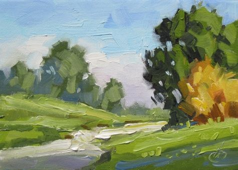 ROAD, TREES, 7x5 INCH PLEIN AIR STYLE ORIGINAL OIL PAINTING by TOM BROWN, painting by artist Tom Brown
