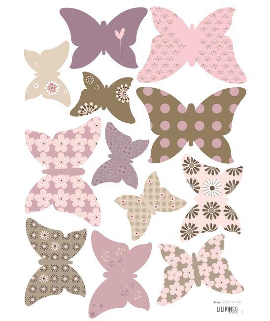 <p>12 papillons pour créer une magnifique envolée.<br />A combiner avec les papillons décoratifs papier pour mixer l'effet 2D/3D.<br />N.<br />e laissent pas de traces au mur. A appliquer sur une surface lisse et propre. <br />Faciles à poser grâce à un transfert transparent. Fournis avec une notice de pose. <br /> Fabriqué en France.<br />