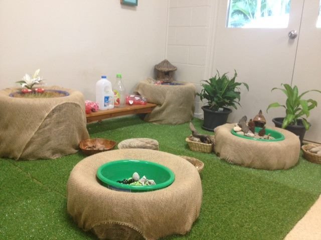 "Hessian-covered tyres at Penguin Childcare ("",) Love the tire idea. The artificial turf, not so much."