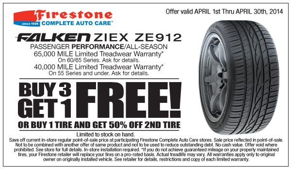 Firestone coupons tire for Falken Ziex ZE912 if you purchase three Get 4th Free or purchase one Get 50% Off Second Tire. this offer valid until April end.