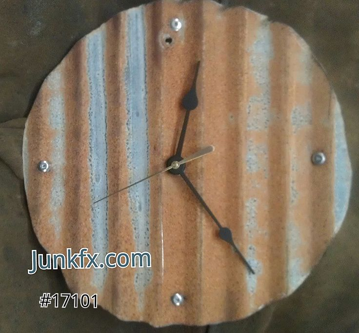 Recyced Upcycled Industrial Roofing Metal Clock by by Junkfx, $50.00