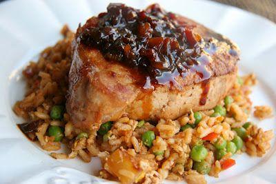 Pioneer Woman's Pork Chops and Pineapple Fried Rice