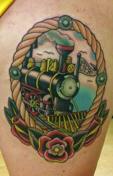 I want this tattoo with the little engine that could in the middle.