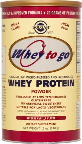 Solgar Whey To Go® Protein Powder Natural Vanilla Flavor. Less than one gram of lactose per serv, no other FODMAP ingredients.