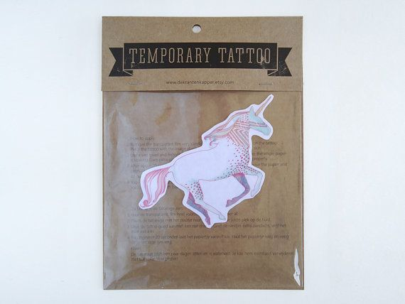 Pink Unicorn Temporary Tattoo by deKrantenkapper on Etsy