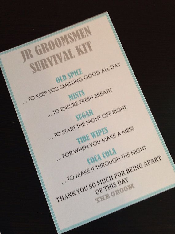 The 25 best groomsmen survival kits ideas on pinterest junior groomsmen survival kit 5x7 postcard by niftyneatthings 100 junglespirit Image collections