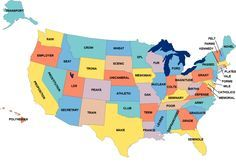 Most recurring word in each US state's English Wikipedia page that doesn't appear under any other state - Maps on the Web : Photo