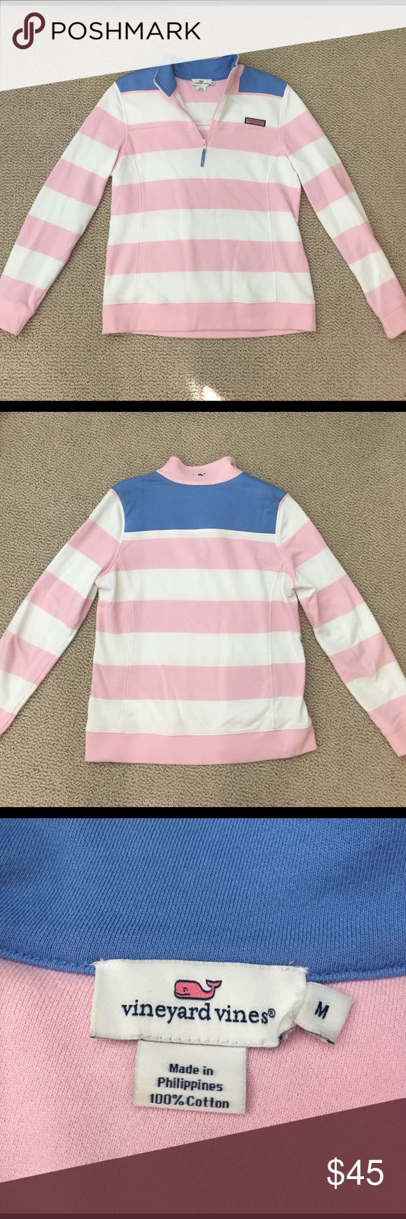 Vineyard Vines Women's Shep shirt Light pink and white striped pullover with blue on shoulders WORN ONCE Vineyard Vines Tops Sweatshirts & Hoodies