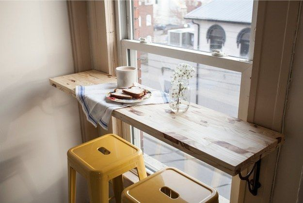 Install a breakfast bar. | 31 Tiny House Hacks To Maximize Your Space