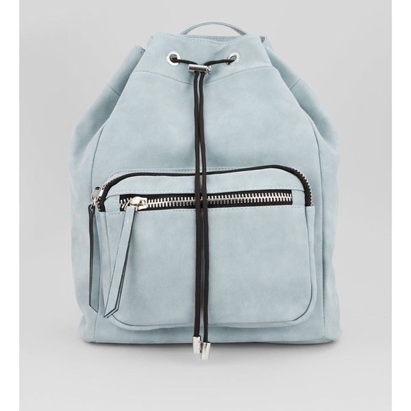 Pale Blue Chunky Zip Backpack ($34) ❤ liked on Polyvore featuring bags, backpacks, pale blue, backpack bags, single strap backpack, knapsack bag, new look bags and rucksack bags