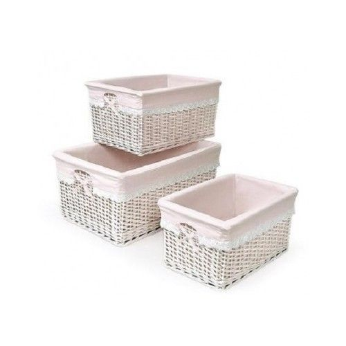 Baby Basket Nursery Storage Badger Set Pink Bin Baskets Girl Kids Cotton Liner