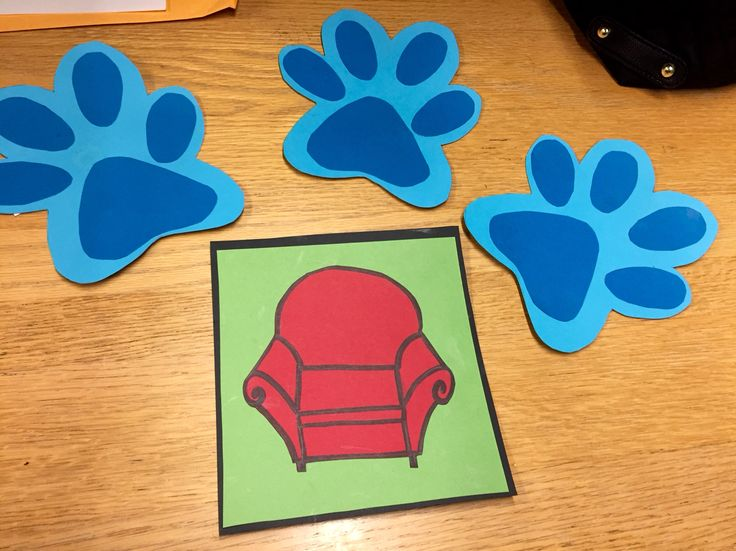 The three clues and note to my little that I made for AOII Big Little reveal!! Blues Clues  themed paw prints and handy dandy notebook made from cardstock :) best sorority big little reveal clues ever!