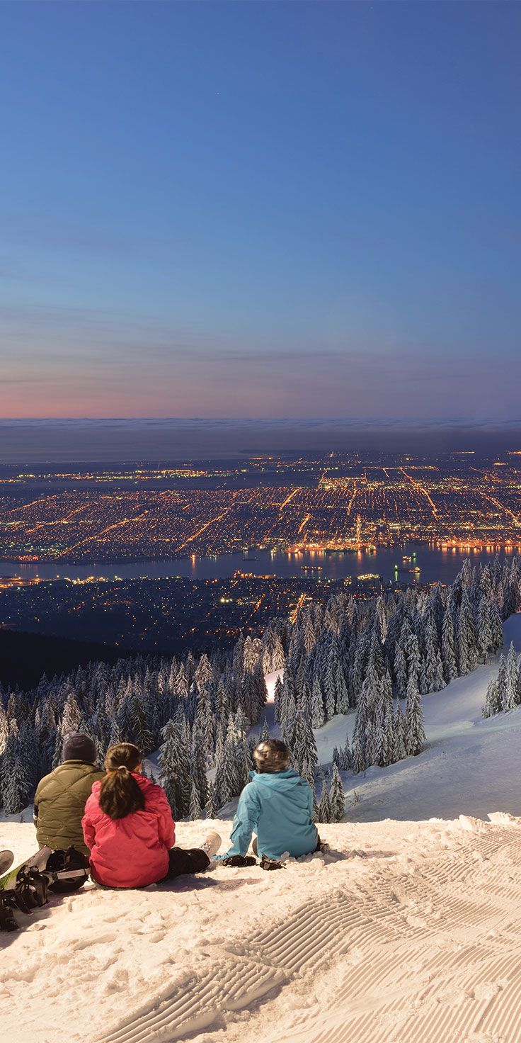 Snowboarding on Grouse Mountain in Vancouver.