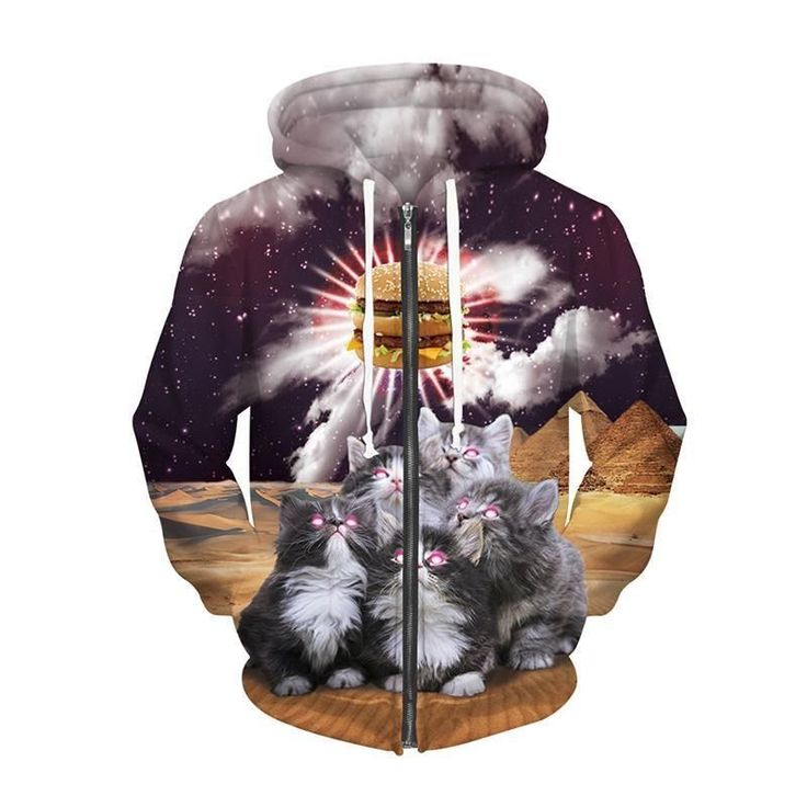 Galaxy Cosmic Cats Animal Print Zip Up Hoodie Unisex Long Sleeve Hoody Pockets