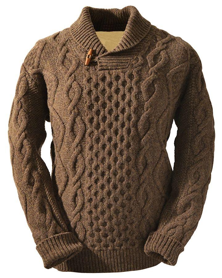 Mens Shawl Collar Aran Pullover Sweater Crochet Pattern Ari Hoenig
