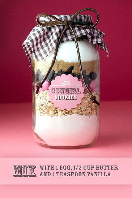 Gift - cookie mix in a jar. Cookies ready in no time. Just need to add butter and eggs.