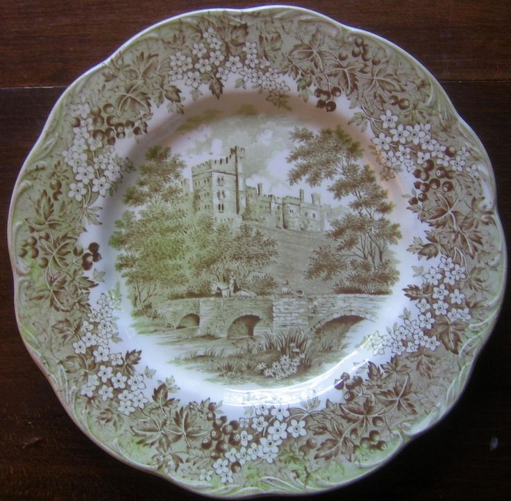 Sage Green Brown Toile Horse Girl Hat Vintage Plate