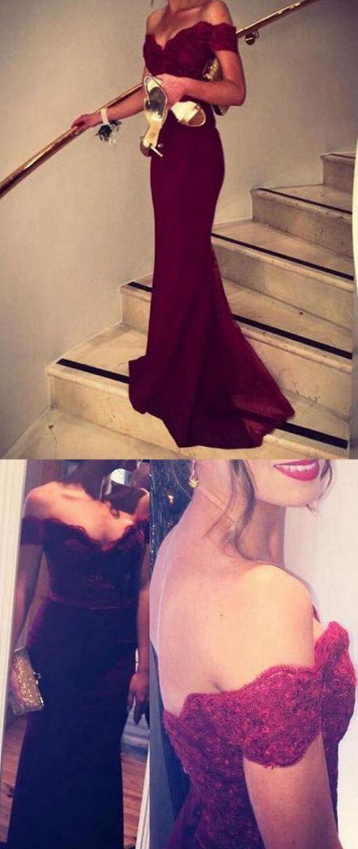Pretty Off Shoulder Chiffon Burgundy Prom Dresses With