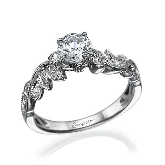 Leaves Engagement Ring White Gold Engagement by Gispandiamonds