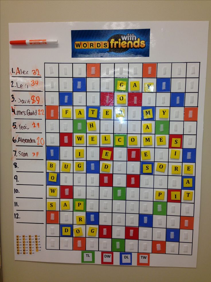Words with friend board in a middle school classroom, helps with spelling and vocabulary!