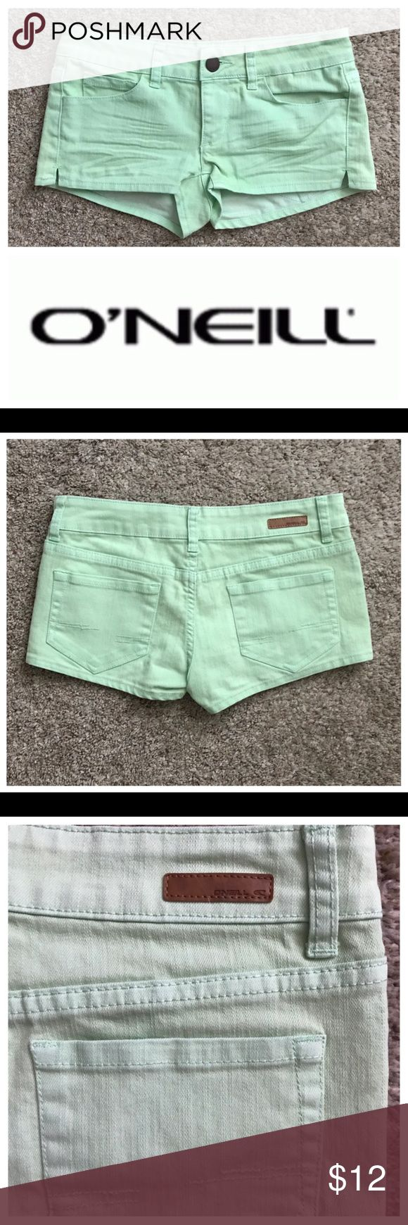 """O'Neill Size 3 Mint Green Shorts Excellent condition; Across waist - 15"""", Front Rise- 7"""", Inseam - 2""""; Cotton, Polyester, Spandex O'Neill Shorts"""