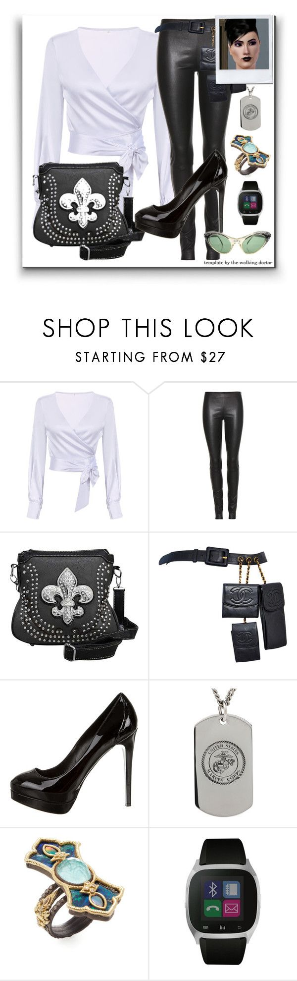 """It's All Black & White"" by the-walking-doctor ❤ liked on Polyvore featuring The Row, Chanel, Ruthie Davis, Armenta and iTouch"