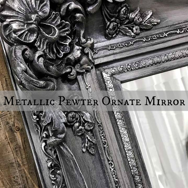 Just the Woods shares a vintage ornate mirror makeover transforming from the original gold to a metallic pewter with silver highlights.