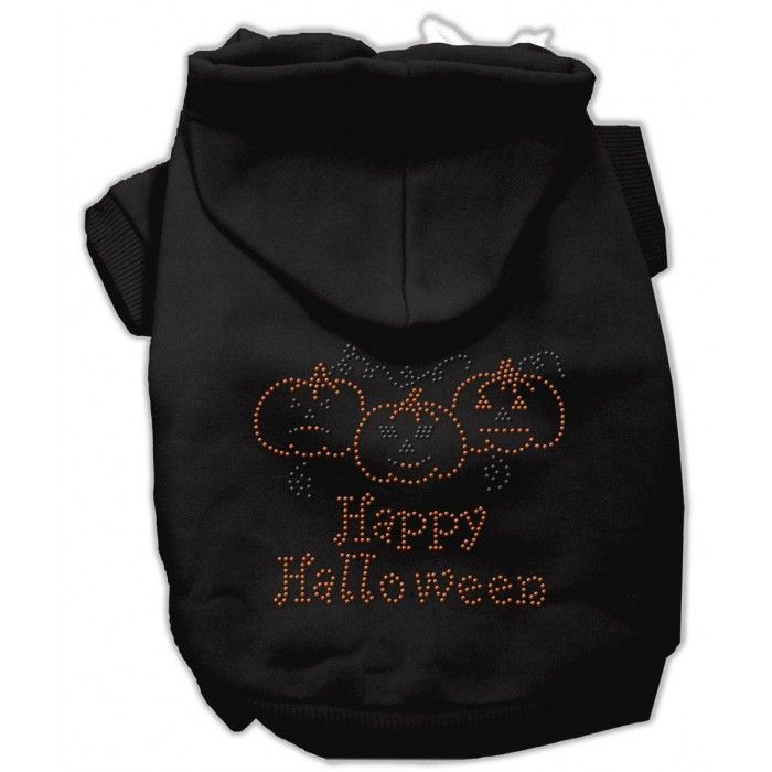Happy Halloween Rhinestone Hoodies Black L (14)  A poly/cotton sleeved hoodie for cold weather days, double stitched in all the right places for comfort and durability!