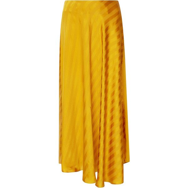Maison Père Striped Midi Circle Skirt (2,725 CNY) ❤ liked on Polyvore featuring skirts, yellow, calf length skirts, yellow skater skirt, flared skirt, striped skater skirt and yellow midi skirt