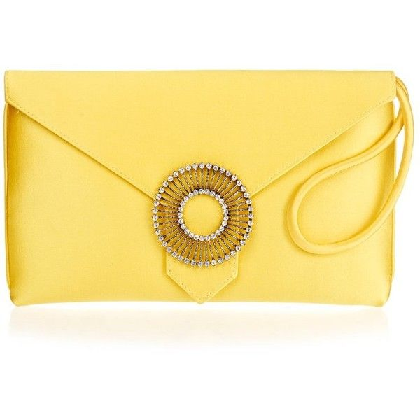 Edith Canary Yellow Silk Clutch Bag ❤ liked on Polyvore featuring bags, handbags, clutches, yellow handbags, yellow purse, silk handbags, yellow clutches and silk purse
