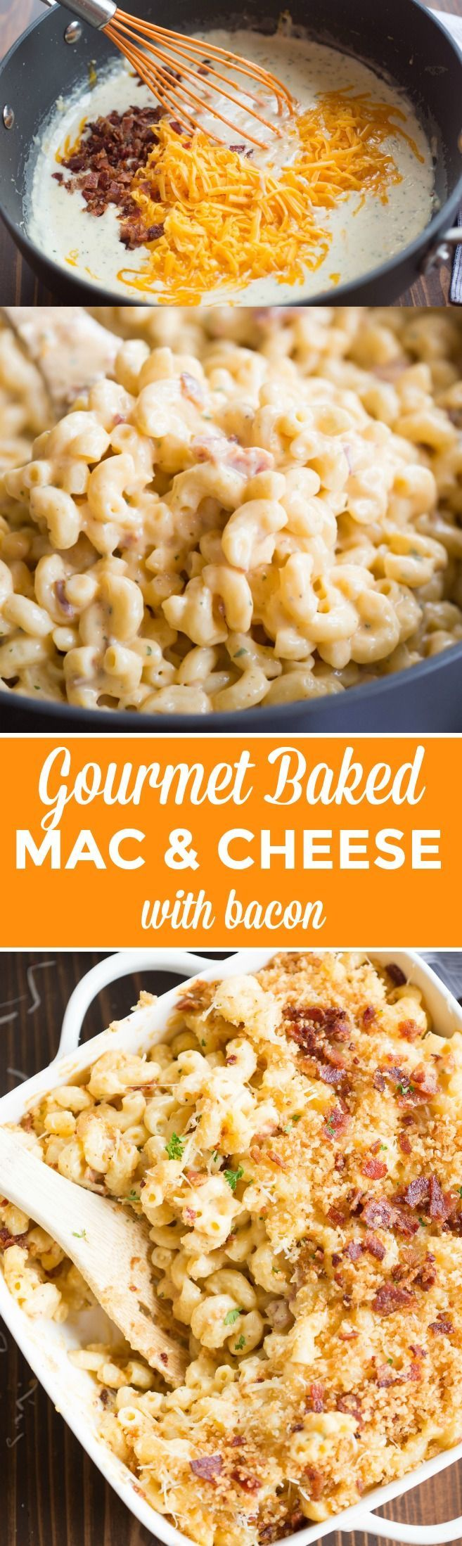 """This creamy, cheesy, GOURMET BAKED MAC AND CHEESE WITH BACON will outshine any mac and cheese you've tasted! It is """"restaurant-quality"""" AMAZING, and it couldn't be simpler to make. 