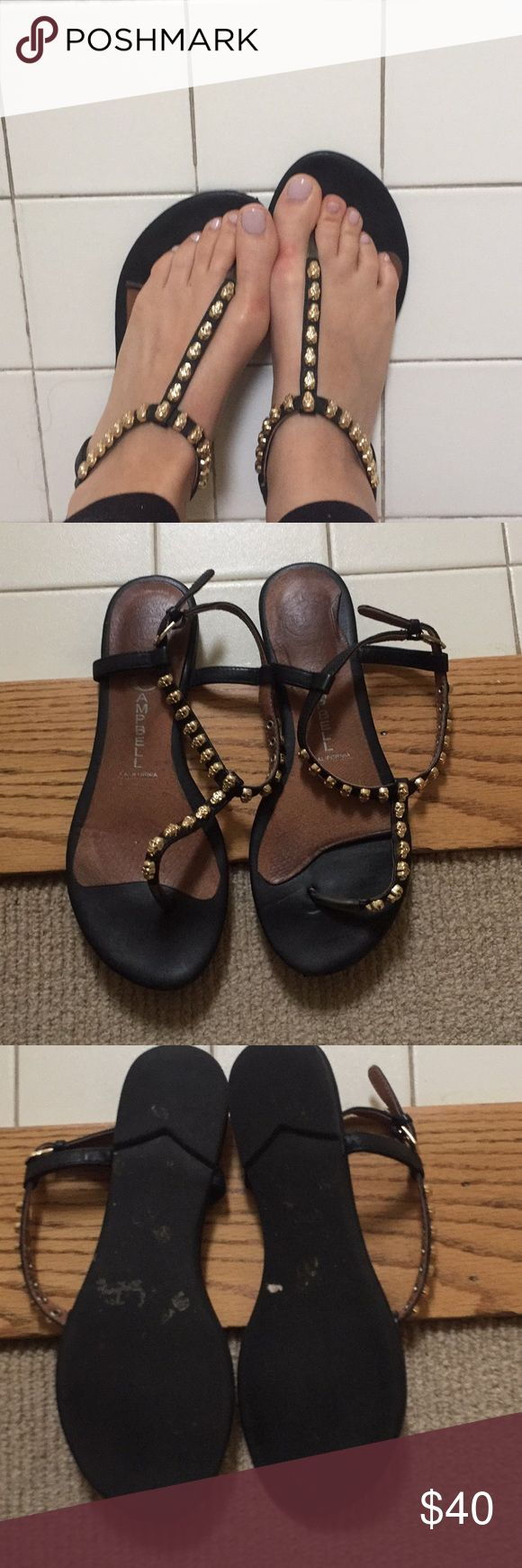 Jeffrey Campbell sandals with skull studs Jeffrey Campbell sandals black with gold skull studs. Size 6.5 but I am a 6 and they fit me Shoes Sandals