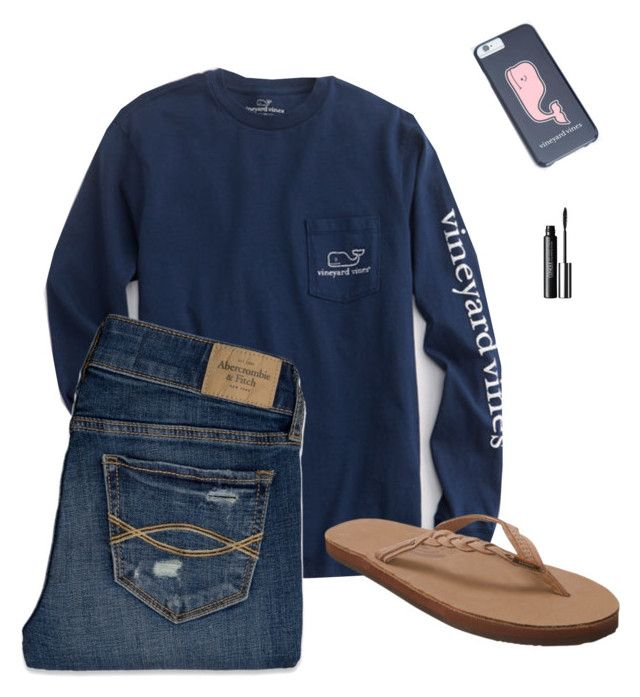 """""""VV"""" by samanthacm ❤ liked on Polyvore featuring moda, Vineyard Vines, Abercrombie & Fitch, Rainbow Sandals e Clinique"""